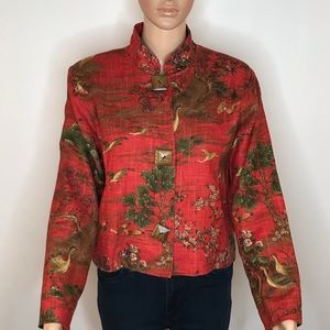 Painted Pony Blazer M Linen Blend Asian Style Red